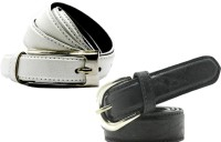 WHOLESOME DEAL Women Casual Multicolor Synthetic Belt White And Black
