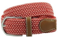 The Tie Hub Men Casual Red Synthetic Belt Red, White
