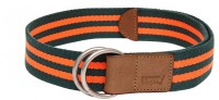 Levis Men Casual Green Canvas, Synthetic Belt Olive/Orange
