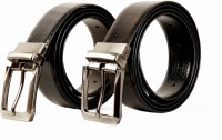 Scharf Men Formal Black, Brown Genuine Leather Reversible Belt (Black 96)