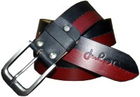 Czars Exports Men Party Black Genuine Leather Belt Black, Red