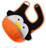 Baby Oodles Cloth Bib With Pocket Penguin (Orange)