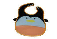 Abracadabra Animal Bib With Pocket-Orange/White Penguin (Orange, White)