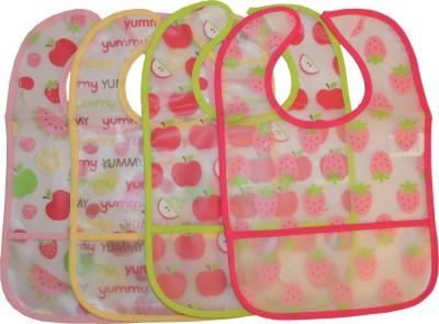Baby Bucket Waterproof Baby Boys & Girls Printed Feeding Bibs Set (Pink)