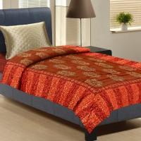 Aapno Rajasthan Orange And Brown Single Bed Floral, Printed Double Blanket Orange, Brown