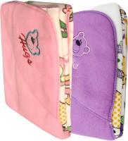 My NewBorn Cartoon Crib Hooded Baby Blanket Pink, Purple (Fleece Blanket, TWO BLANKETS)