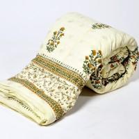 Little India White Base Handblock Print Cotton Double Quilt Modern Ethnic Quilt Double