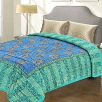Aapno Rajasthan Sea Green And Blue Bed Blanket (Double)