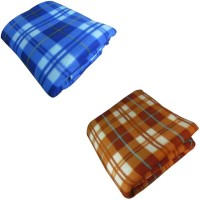 Peponi Checkered Single Blanket Multicolor Peponi Multicolor Checked Single Bed Fleece Blanket Set Of 2