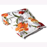 Clasiko Floral Single Quilts & Comforters White, Orange, Red Micro Quilt, 1 Comforter