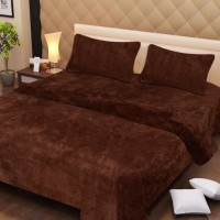 Paradise Cotton Silk Blend Plain Double Bedsheet 1 Double Bedsheet, 2 Pillow Covers, Brown