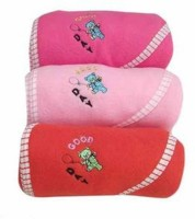 GARGSHOPE Plain, Embroidered, Striped Single Hooded Baby Blanket Pink, Dark Pink, Sea Green, Purple, Peach, Red, Sky Blue, Lemon (Fleece Blanket, Baby Blanket Set Of 3Pcs)