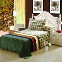 Allay Home Geometric Double Fleece Blanket Beige / Olive