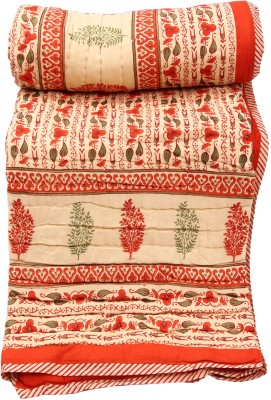 Chhipaprints Orange Border Shades of Paradise Quilt Single