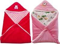My NewBorn Cartoon Crib Hooded Baby Blanket Pink, Red (Two Lovable Velvet Hooded Baby Blanket)