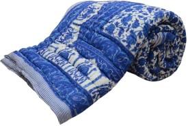 krishna online service Floral Double Quilts & Comforters blue