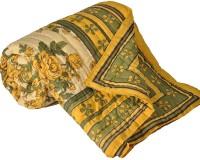 Little India Green Floral Print Pure Cotton Double BedQuilt Modern Ethnic Quilt Double