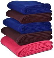 Peponi Plain Single Blanket Multicolor Peponi Multicolor Plain Single Bed Fleece Blanket Set Of 5