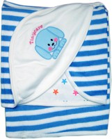 Tiny Care Baby Hooded Towel Blue Colour Strpies Blanket (Single)