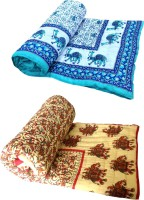Shop Rajasthan Animal Single Quilts & Comforters Light Blue & Red 2 Single Bed Quilts