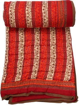 Chhipaprints Anokha Border Red Shades of Paradise Quilt Single