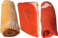 My NewBorn Cartoon Single Fleece Blanket Orange (Pack Of 3 With Shawl Classic Fleece And Reversible Fleece In Orange Color)