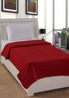 Pranaya Collections Plain Single Blanket Red Fleece Blanket, One Blanket