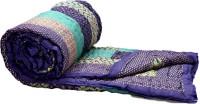 Rangasthali Jaipuri Traditional Ethnic Single Cotton Quilt / Razai In Purple And Green Flower Design Blanket (Single)