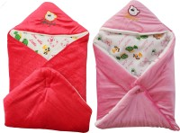 My NewBorn Cartoon Crib Hooded Baby Blanket Orange, Pink (Two Lovable Velvet Hooded Baby Blanket)