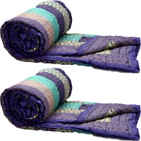 Rangasthali Set Of 2 Jaipuri Traditional Ethnic Double Cotton Quilt / Razai In Purple And Green Flower Design Blanket (Double)