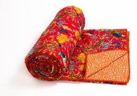 Prateek Retail Floral Double Quilts & Comforters Red Quilt