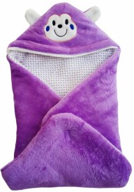 Brandonn Abstract Single Hooded Baby Blanket Purple