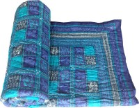 Shoppingtara Self Design Double Quilt Blue