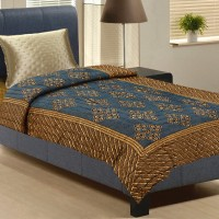 Aapno Rajasthan Midnight Blue And Earthy Brown Single Bed Floral, Printed Double Blanket Brown, Blue