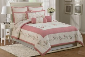 Chezmoi Collection Embroidered Ivory Pink