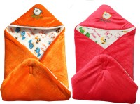 My NewBorn Cartoon Crib Hooded Baby Blanket Tangerine, Orange (Two Lovable Velvet Hooded Baby Blanket)