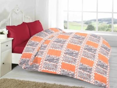 Fabutex Geometric Double Blanket Orange And Black Fleece Blanket, 1 Fleece Blanket