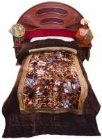 Home India Floral Gold Jaipuri Velvet 501 Floral Print Bed Quilt (Single)