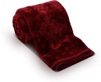 Fab Ferns Plain Double Blanket Maroon Mink Blanket, Blanket