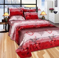 The Intellect Bazaar Floral Double Blanket Red, 1 Blanket, 2 Pillow Covers