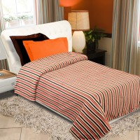Home Originals Striped Single Blanket Multicolor, Single Bed AC Fleece Blanket