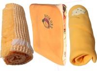 My NewBorn Cartoon Single Fleece Blanket Beige (Pack Of 3 With Shawl Classic Fleece And Reversible Fleece In Beige Color)