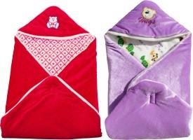 My NewBorn Cartoon Crib Hooded Baby Blanket Purple, Red