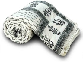 Little India Floral Single Quilts & Comforters Grey