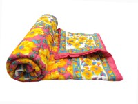 Shop Rajasthan Floral, Printed Single Quilts & Comforters Yellow & Pink 1 Single Bed Quilt
