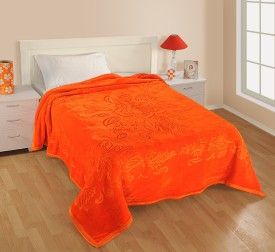 Shital Plain Double Blanket Orange
