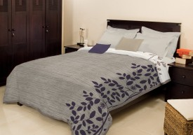 Bombay Dyeing Floral Double Blanket Grey
