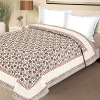 Aapno Rajasthan Pure Cotton Bed With Floral Motifs Floral, Printed Double Blanket Multicolor