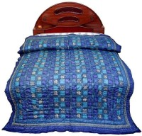 Little India Self Design Double Quilt Blue
