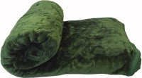Fab Ferns Plain Double Blanket Green Mink Blanket, Blanket